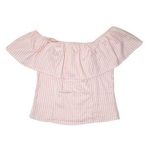 Heart & hips pink white stripe off shoulder top